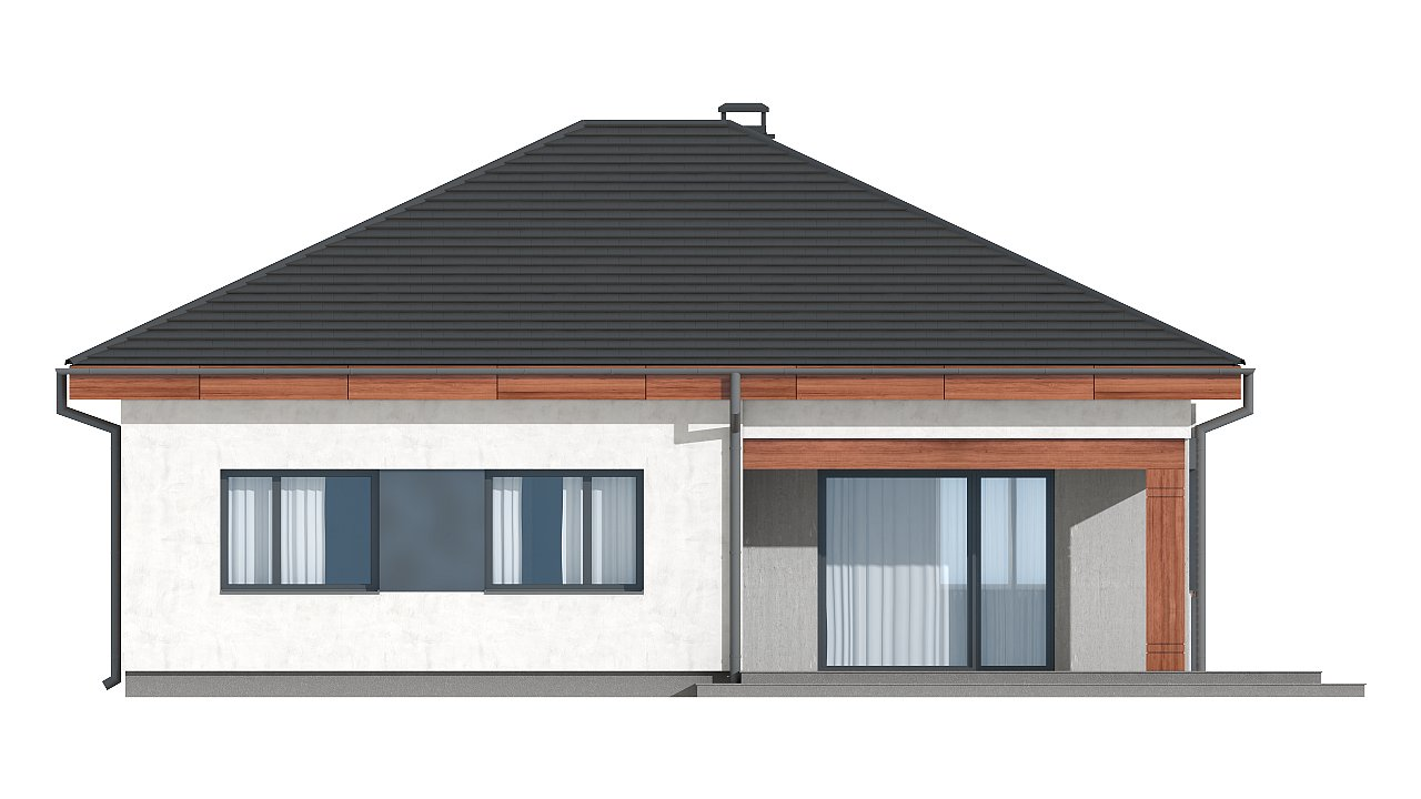 Проект стильного одноэтажного дома в классическом стиле. 22