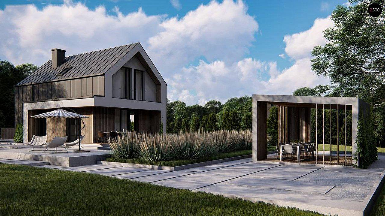 Проект одноэтажного дома с двускатной крышей для небольшого участка 4