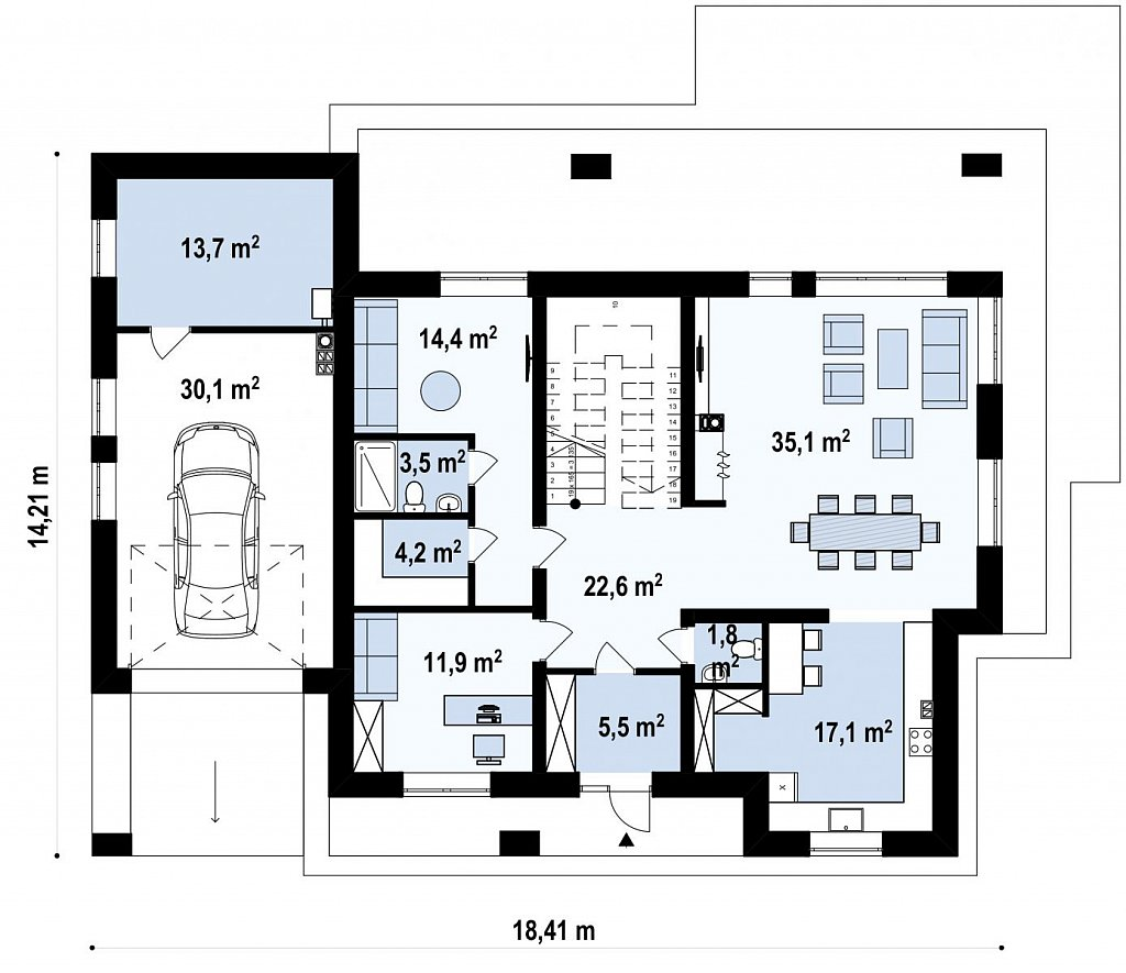 Проект двухэтажного дома простой формы с боковым гаражом план помещений 1