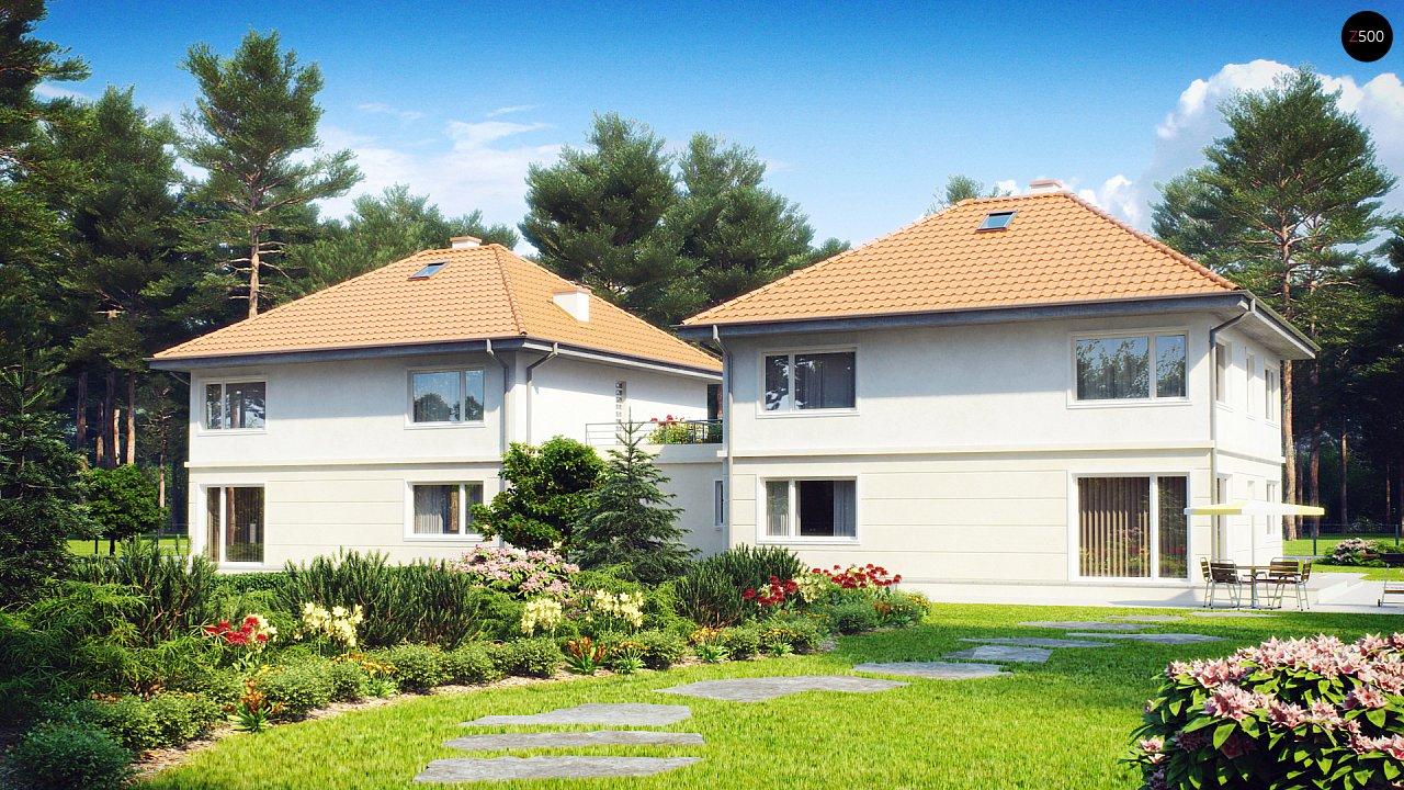 Проект просторного двухэтажного дома для симметричной застройки с террасой над гаражом. 2