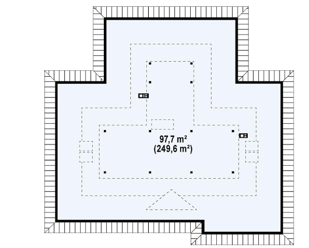 Проект просторного одноэтажного дома с возможностью обустройства мансарды. план помещений 2