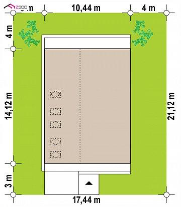 Мансардный дом простой формы с современным оригинальным экстерьером. план помещений 1
