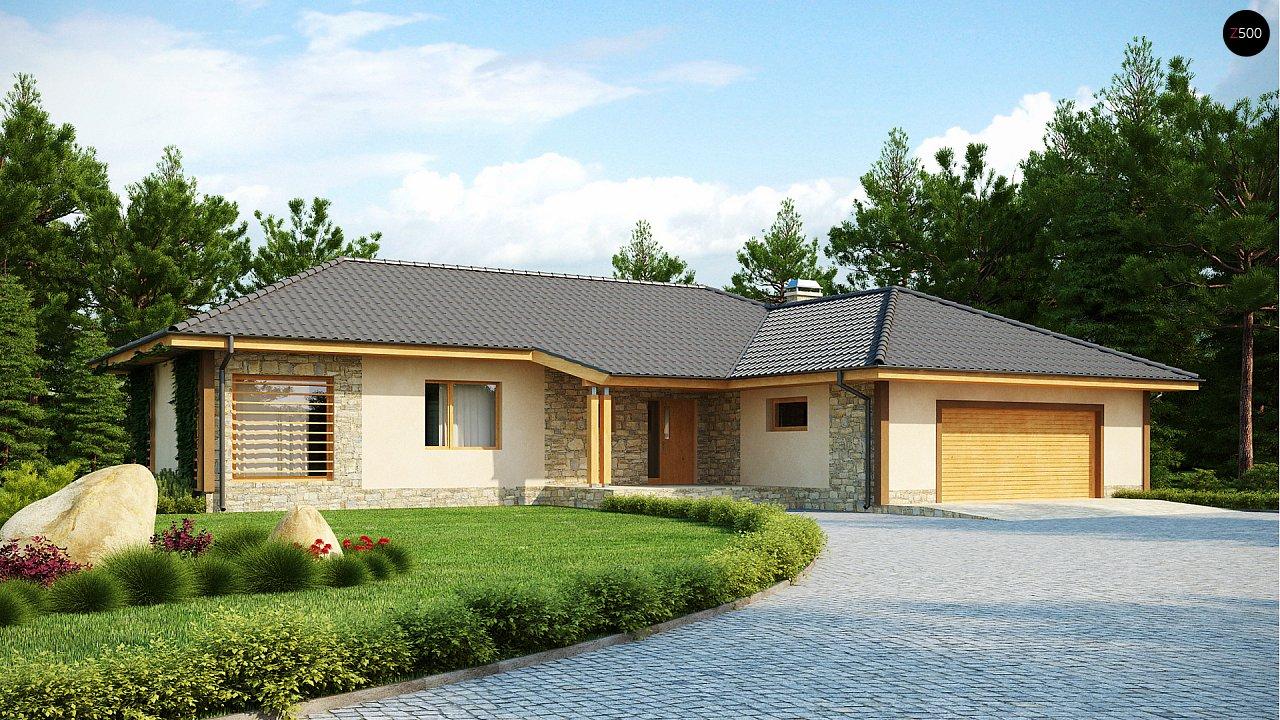 Проект одноэтажного дома с выступающим фронтальным гаражом. - фото 1