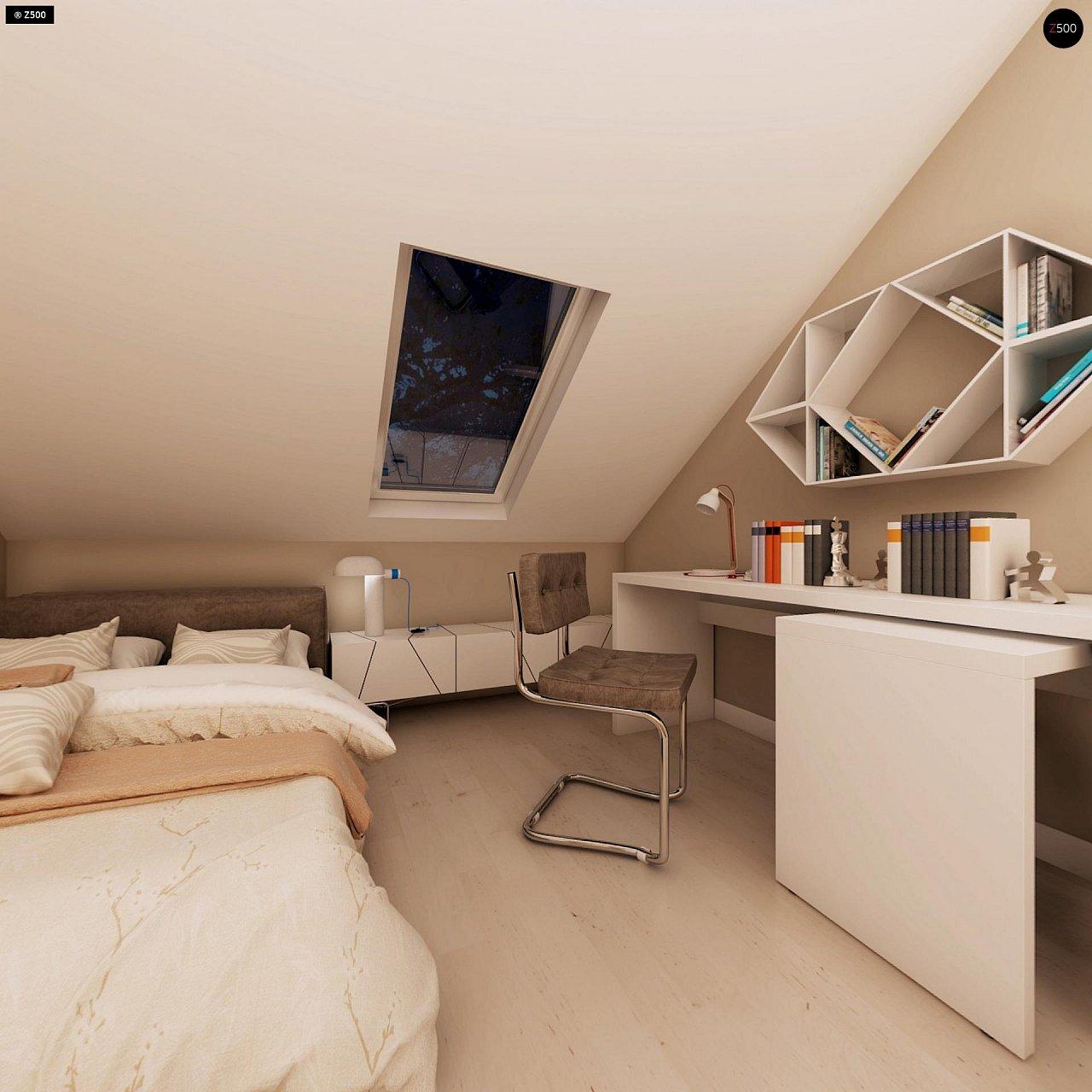 Компактный дом с мансардой, эркером в дневной зоне и c кабинетом на первом этаже. 20