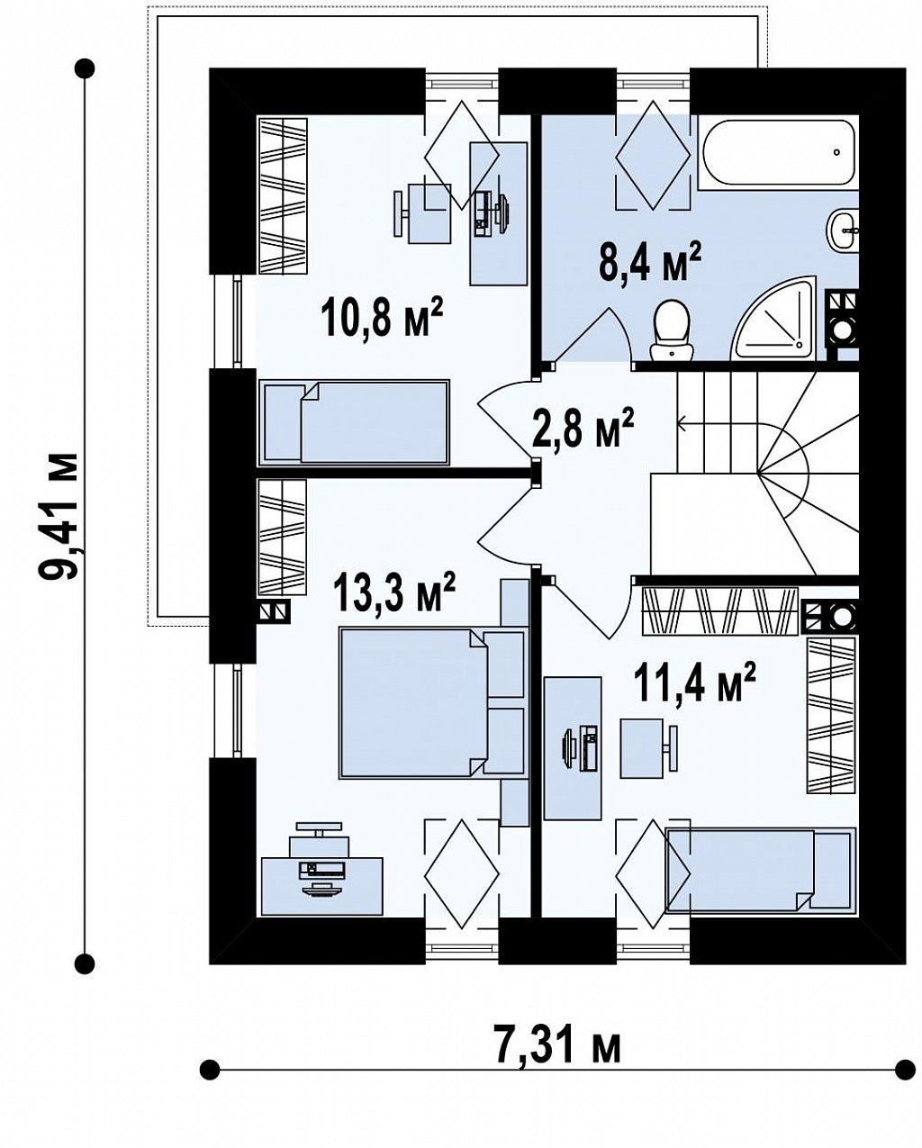 Дом простой энергосберегающей формы со светлым интерьером, подходящий для узкого участка. план помещений 2
