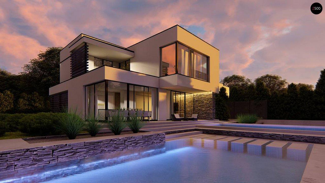 Двухэтажный проект дома для семьи из 4 человек с современным дизайном и навесом для машины 4