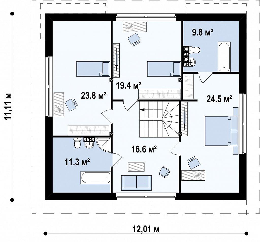 Практичный дом со встроенными гаражом, с большой площадью остекления в гостиной. план помещений 2