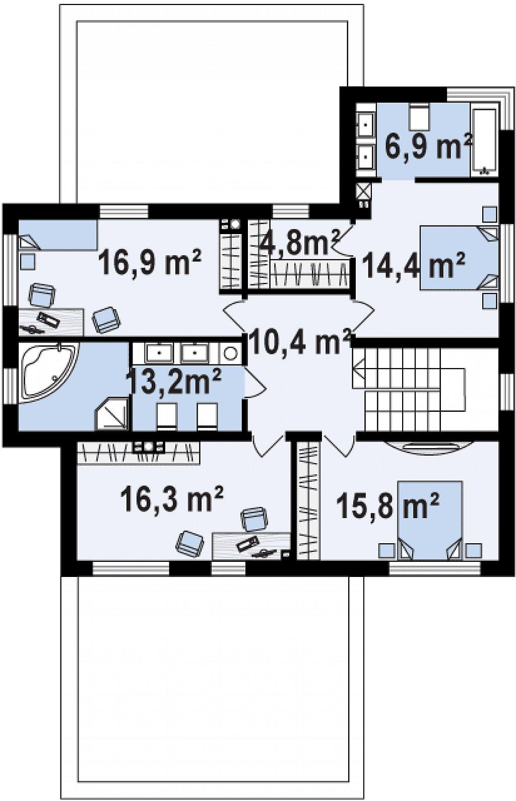Современный комфортный двухэтажный дом с баней план помещений 2