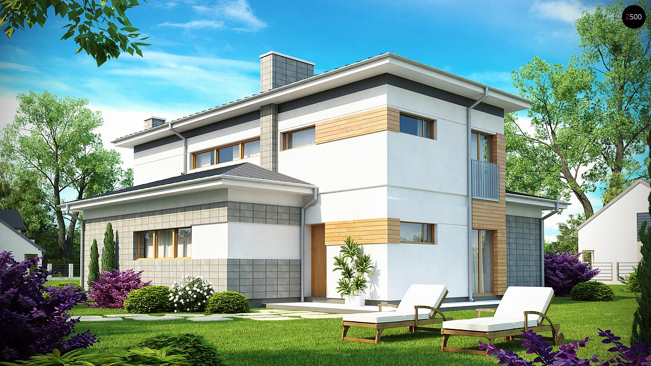 Проект удобного двухэтажного дома в стиле модерн с боковым гаражом. 2
