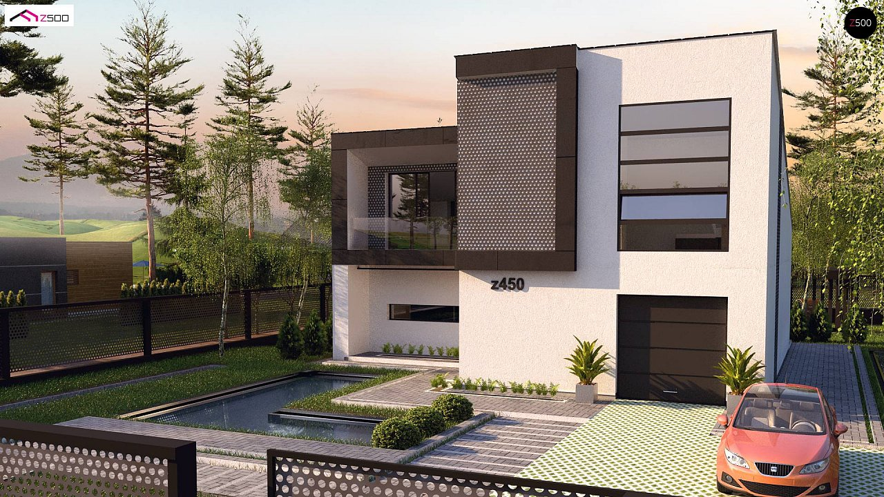 Проект современного двухэтажного дома с оригинальным экстерьером и гаражом на один автомобиль. 4