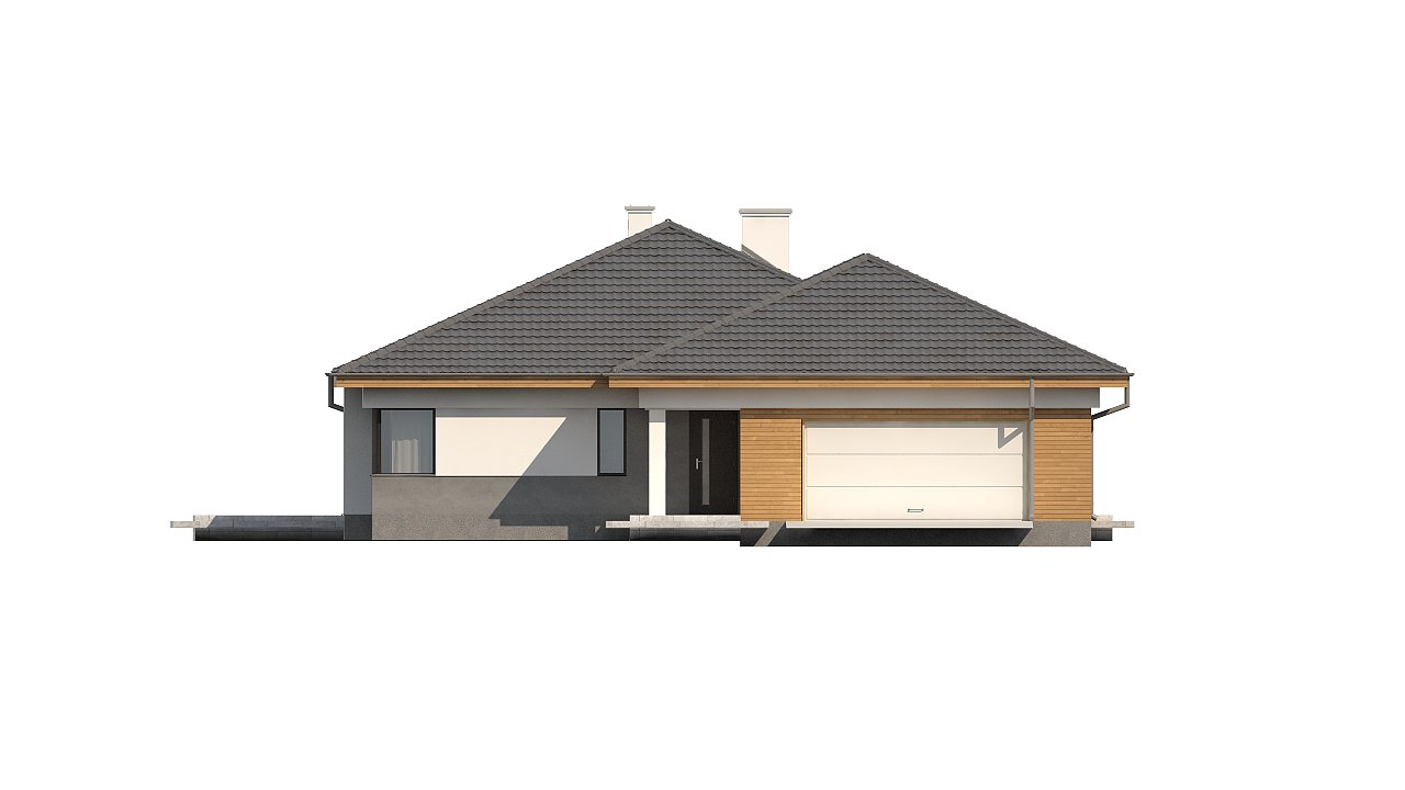 Одноэтажный просторный дом с эркером и крытой террасой. 18