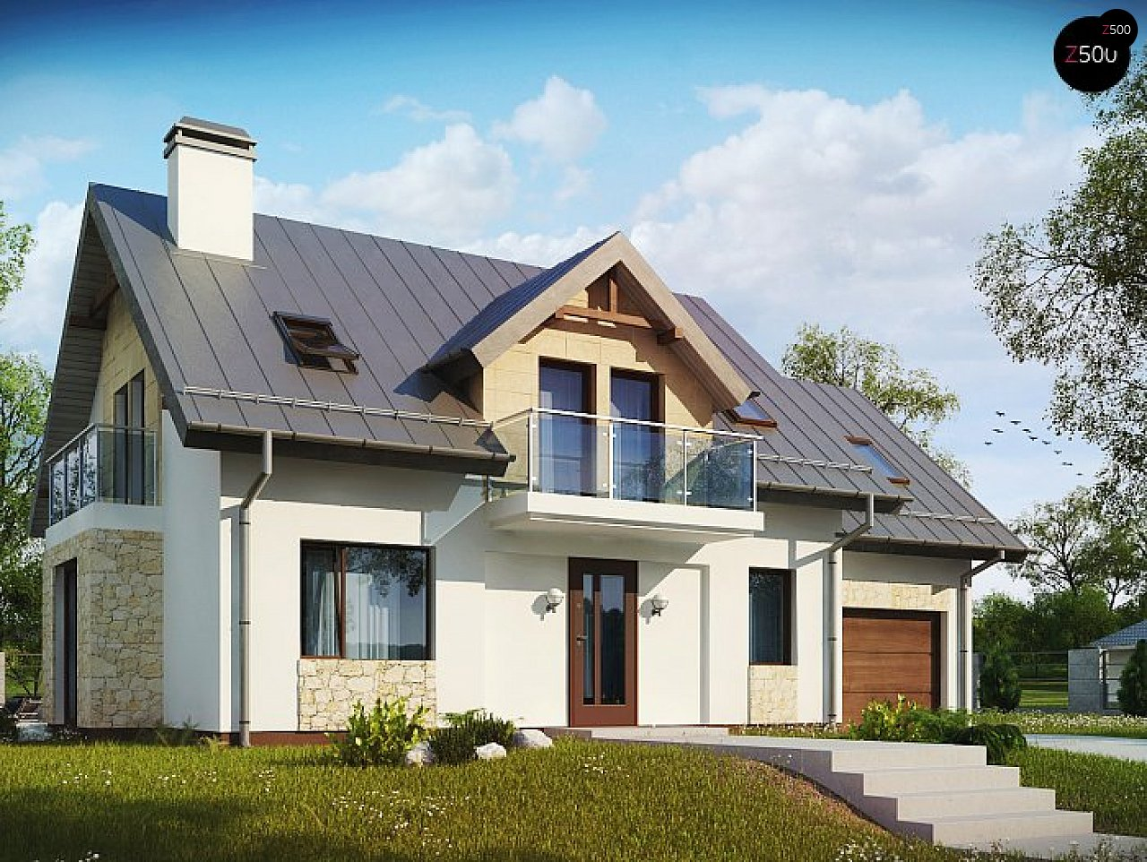 Версия мансардного дома Z263 с увеличением гаража - фото 1