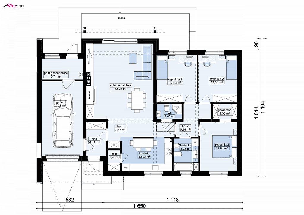 Дом, выполненный в традиционном стиле с одноуровневой планировкой. план помещений 1