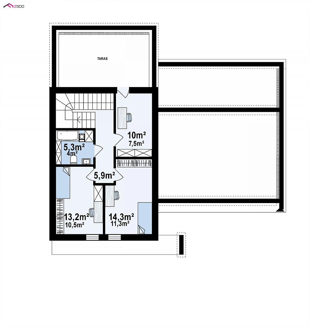 Проект дома с мансардой в европейском стиле с гаражом на одно авто. план помещений 2