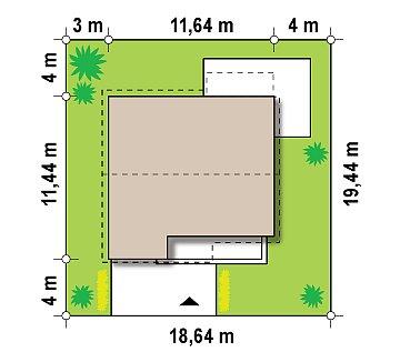 Проект дома с мансардой, с дополнительной спальней на первом этаже и с застекленной террасой. план помещений 1