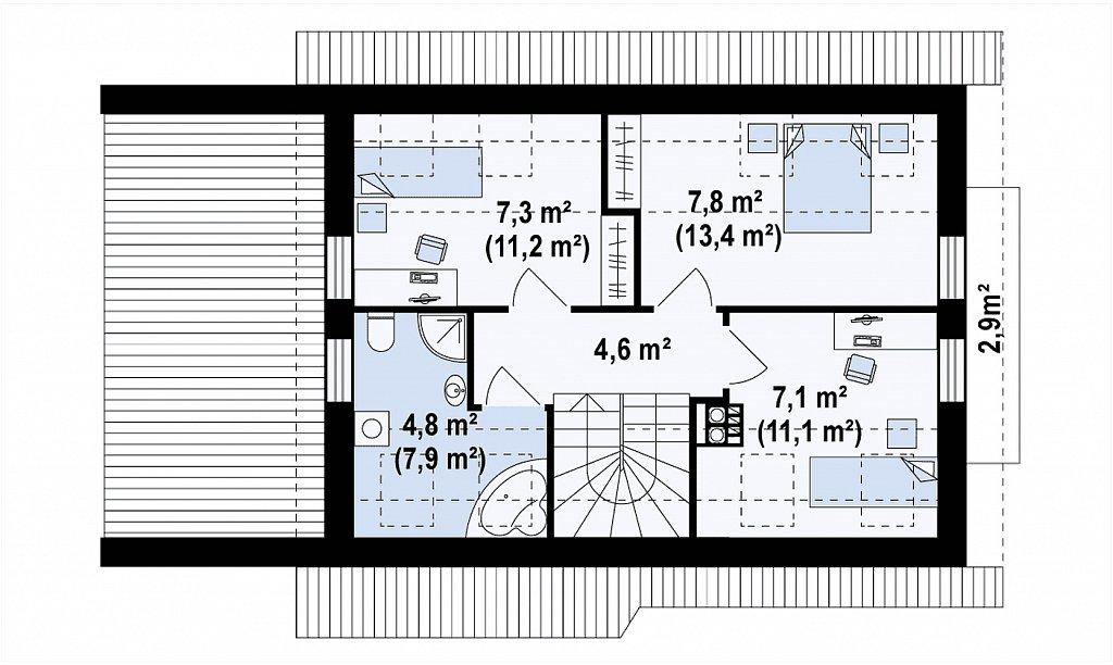 Вариант мансардного дома Z216 с гаражом на одну машину план помещений 2