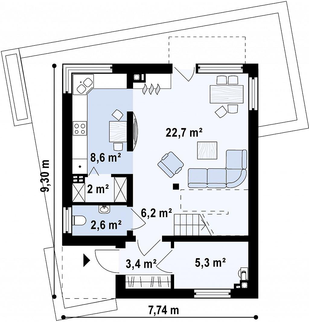 Компактный дом в стиле современного кубизма с тремя спальнями. план помещений 1