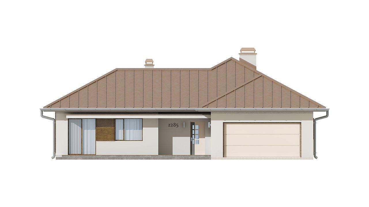 Проект удобного одноэтажного дома с большой угловой террасой. 4