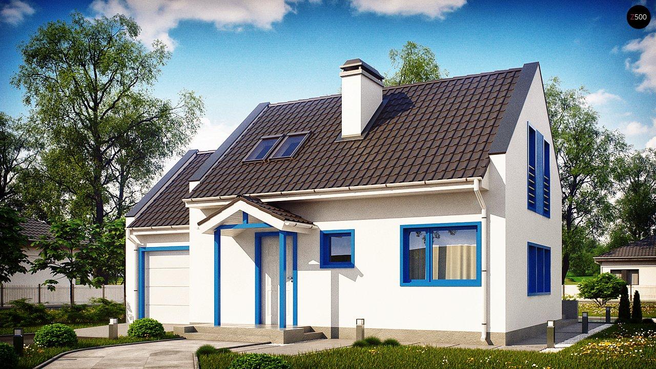 Компактный дом с гаражом для одной машины, с большими окнами в гостиной. 4