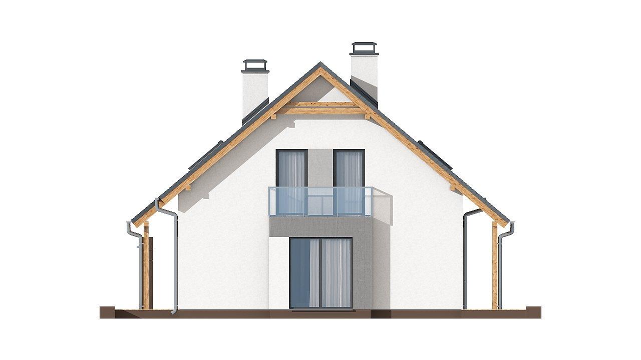 Проект практичного дома с большим хозяйственным помещением, с кабинетом на первом этаже. 18