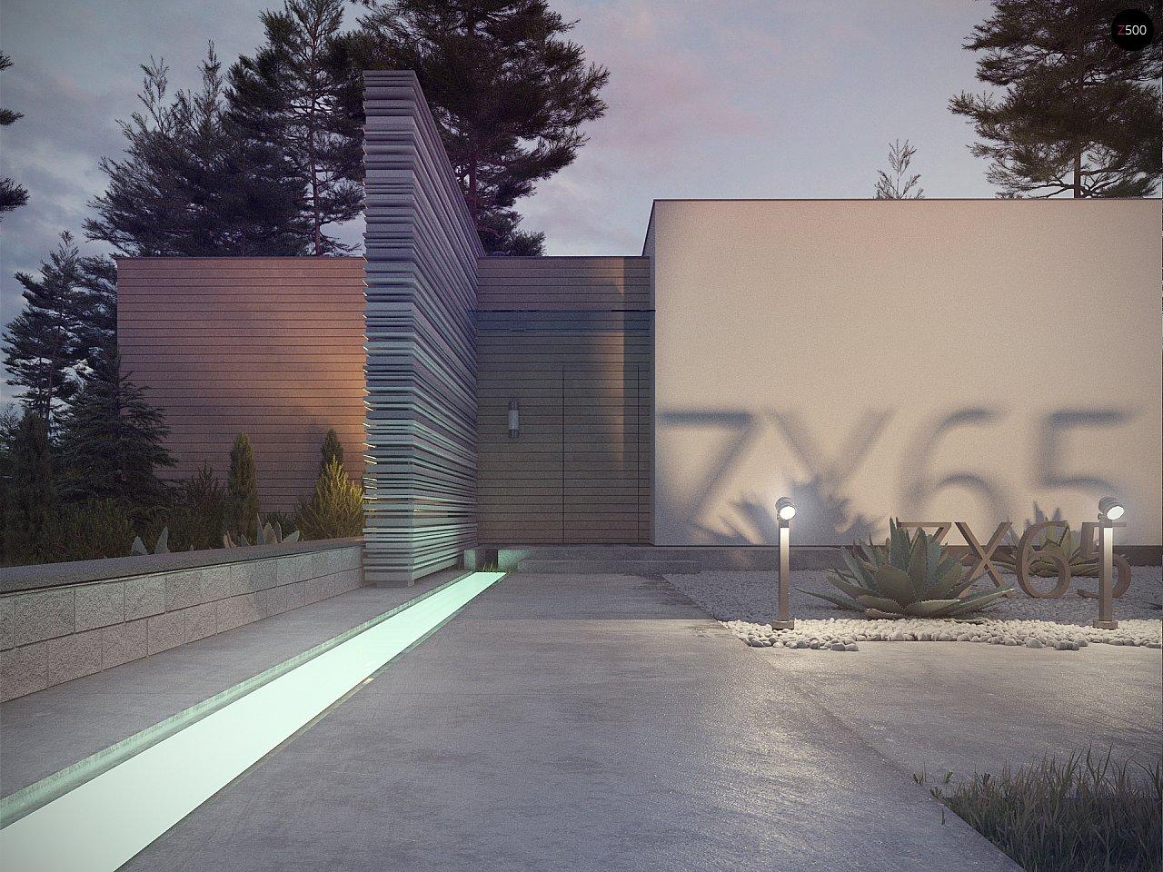 Одноэтажный дом в стиле хай-тек с плоской кровлей и большой площадью остекления. 17