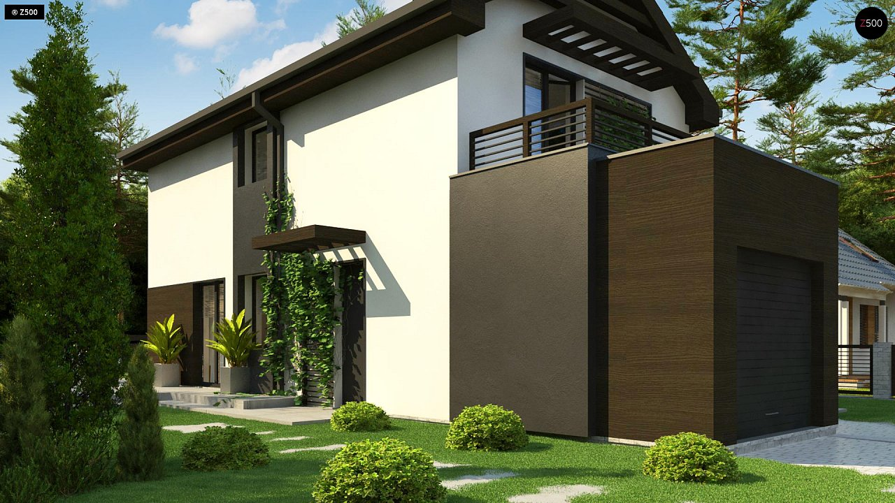 Проект двухэтажного дома в современном стиле, подойдет для строительства на узком участке. - фото 6