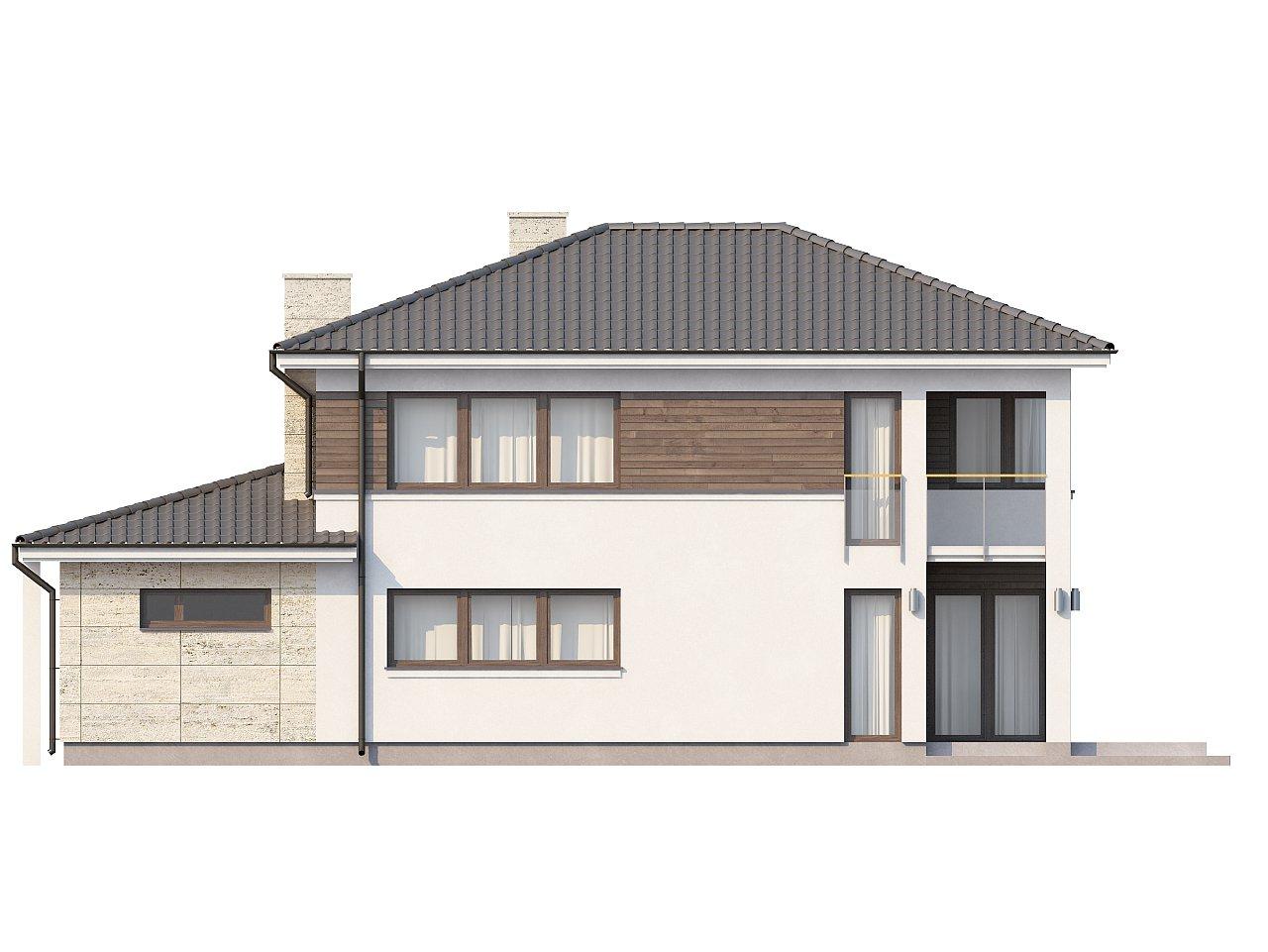 Двухэтажный современный дом с многоскатной низкой крышей, с гостиной с фронтальной стороны. - фото 5