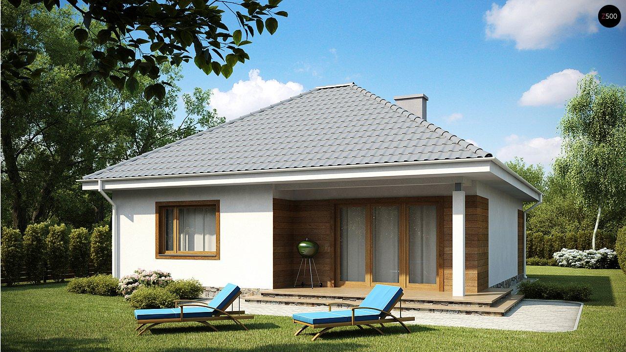 Проект одноэтажного практичного и уютного дома с крытой террасой. 1