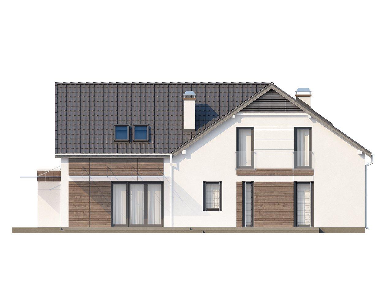Просторный и комфортный дом с гаражом для двух автомобилей и угловым эркером. 4