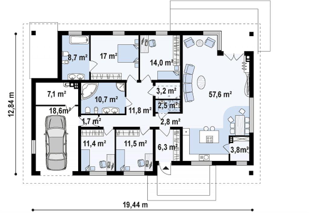 Версия дома Z153 с гаражом, встроенным в корпус здания. план помещений 1