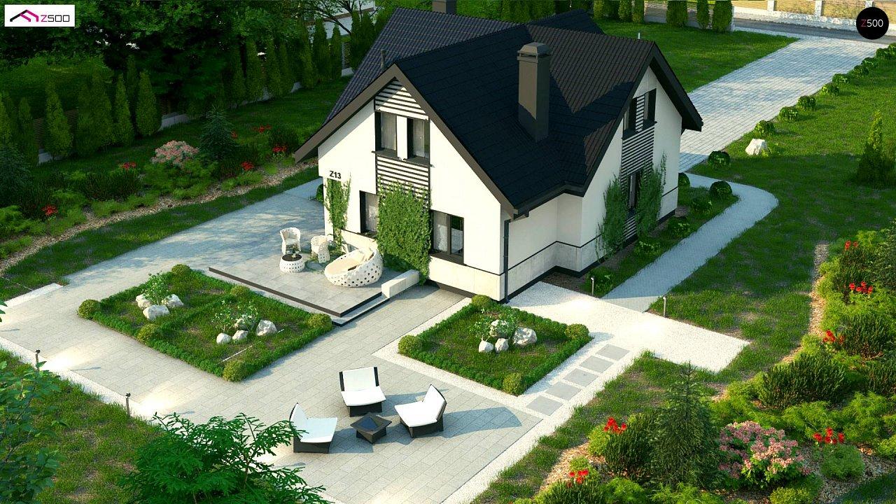 Простой в строительстве дом с балконом над входом. 6
