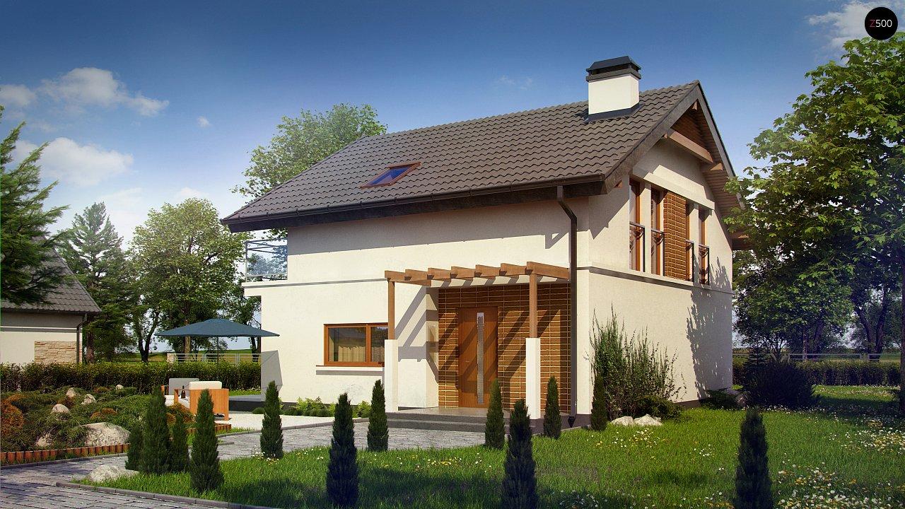 Проект дома с мансардой, с высокой аттиковой стеной, с дополнительной комнатой на первом этаже. 1