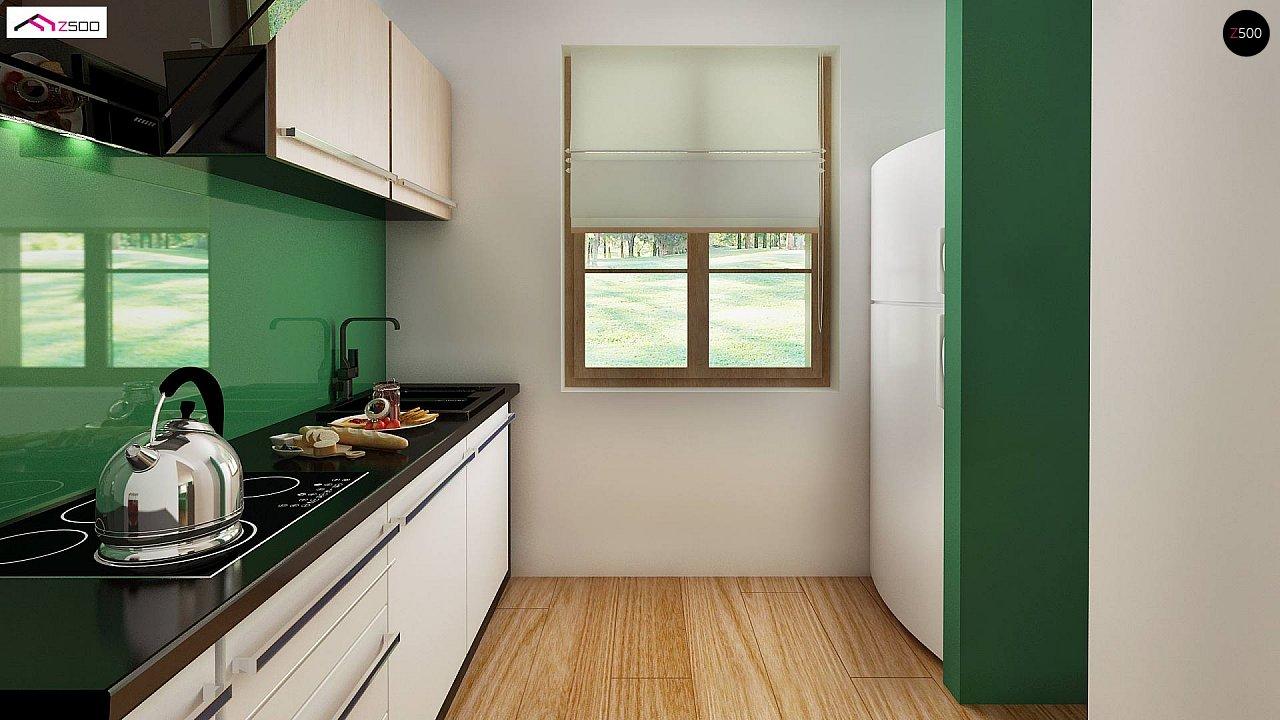 Компактный дом с мансардой, с крытой террасой и внешним камином. 4