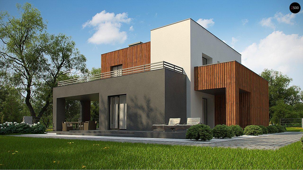 Современный дом с гаражом на 2 машины и террасой на первой 7