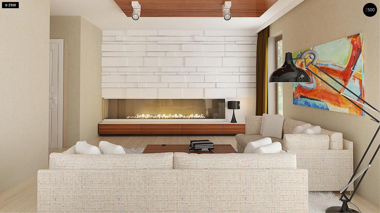 Функциональный традиционный дом с современными элементами в архитектуре, со встроенным гаражом. 5