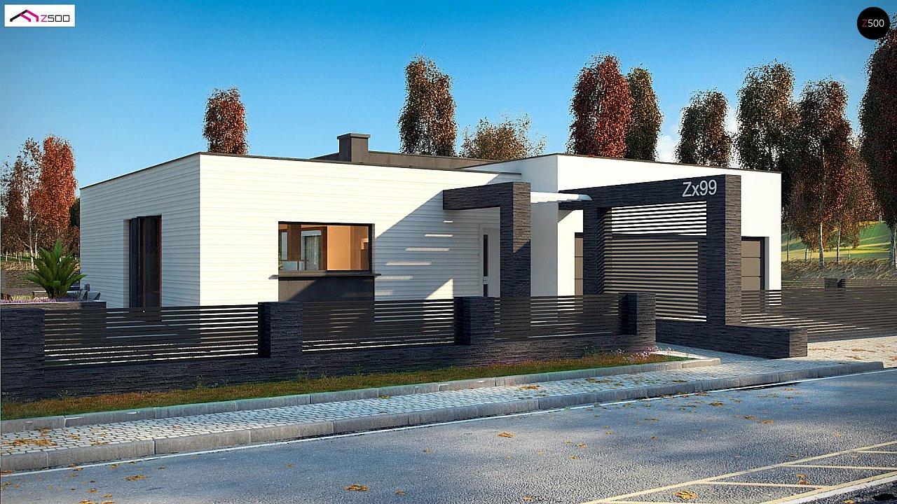 Одноэтажный дом в современном стиле с гаражом на 3 машины, с плоской кровлей 2