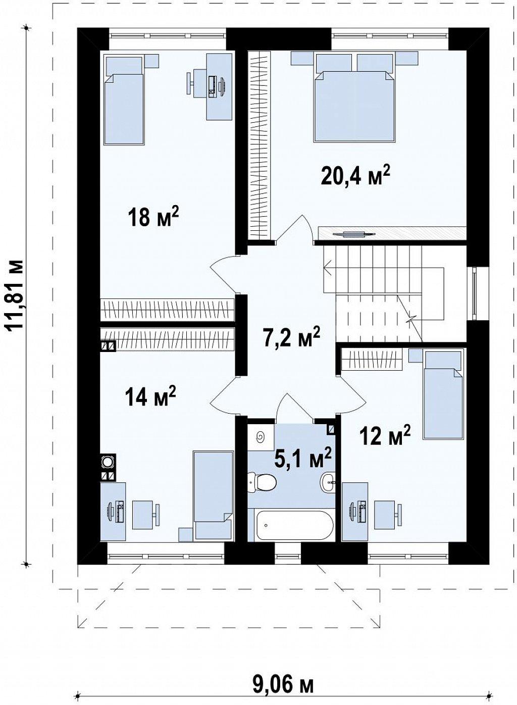 Двухэтажный дом традиционного дизайна план помещений 2