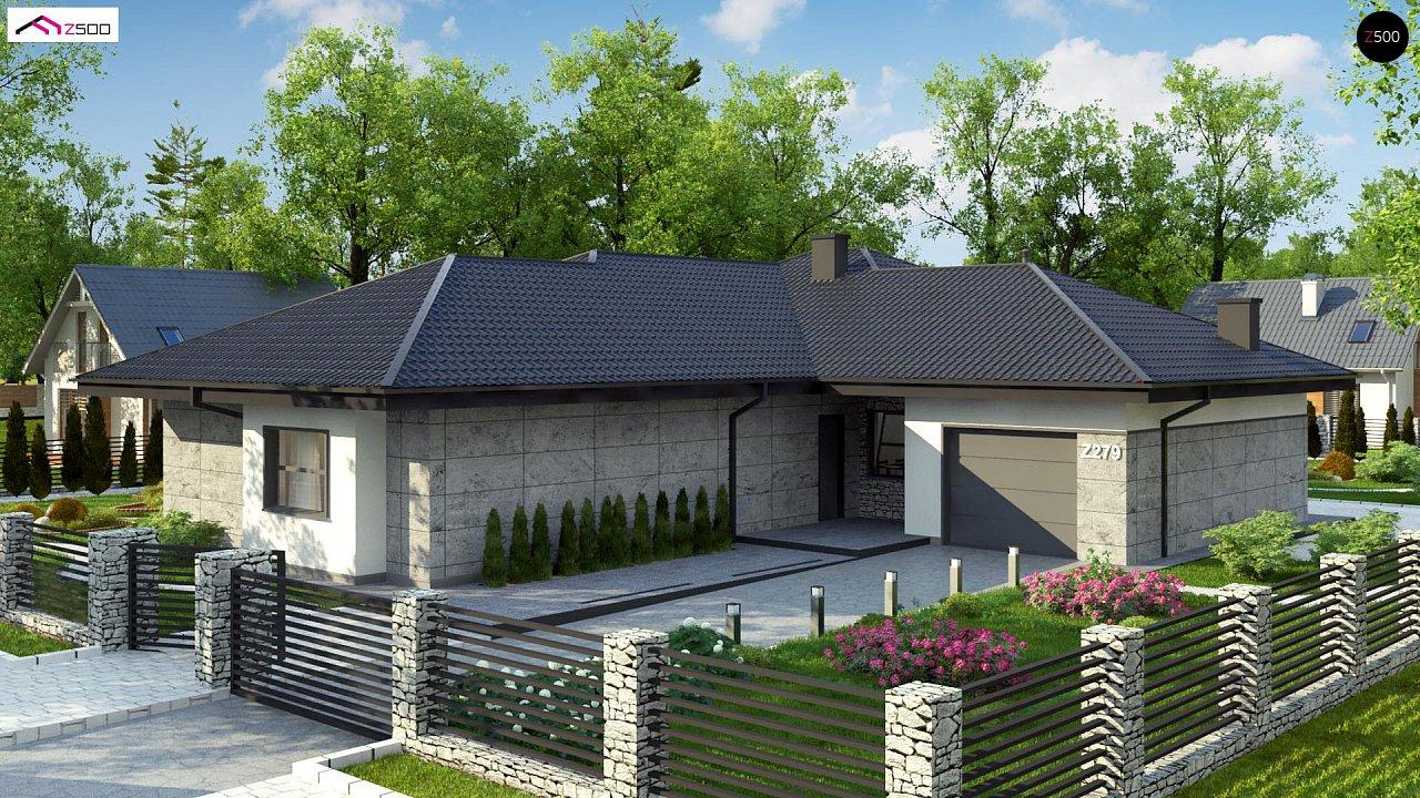 Одноэтажный дом с каменной облицовкой фасадов 4
