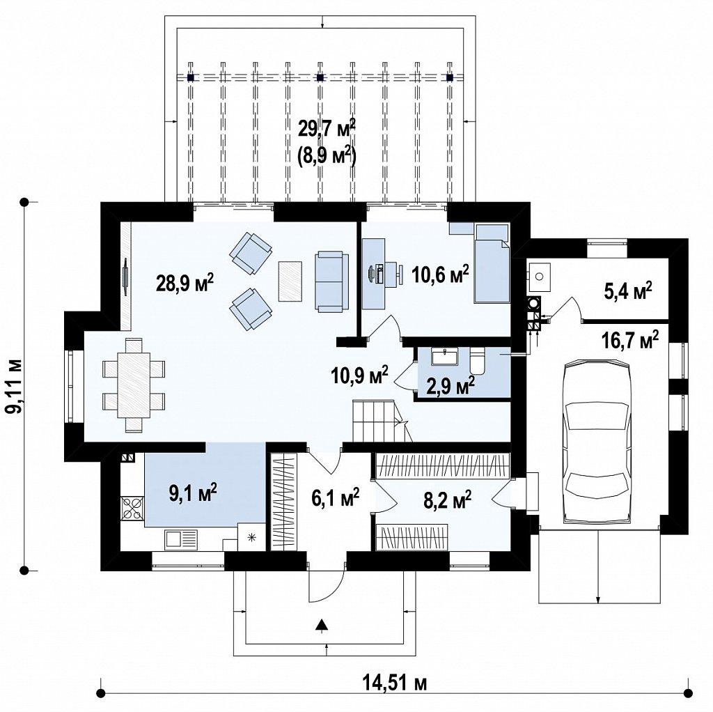 Стильный современный дом с пятью спальнями и гаражом. план помещений 1