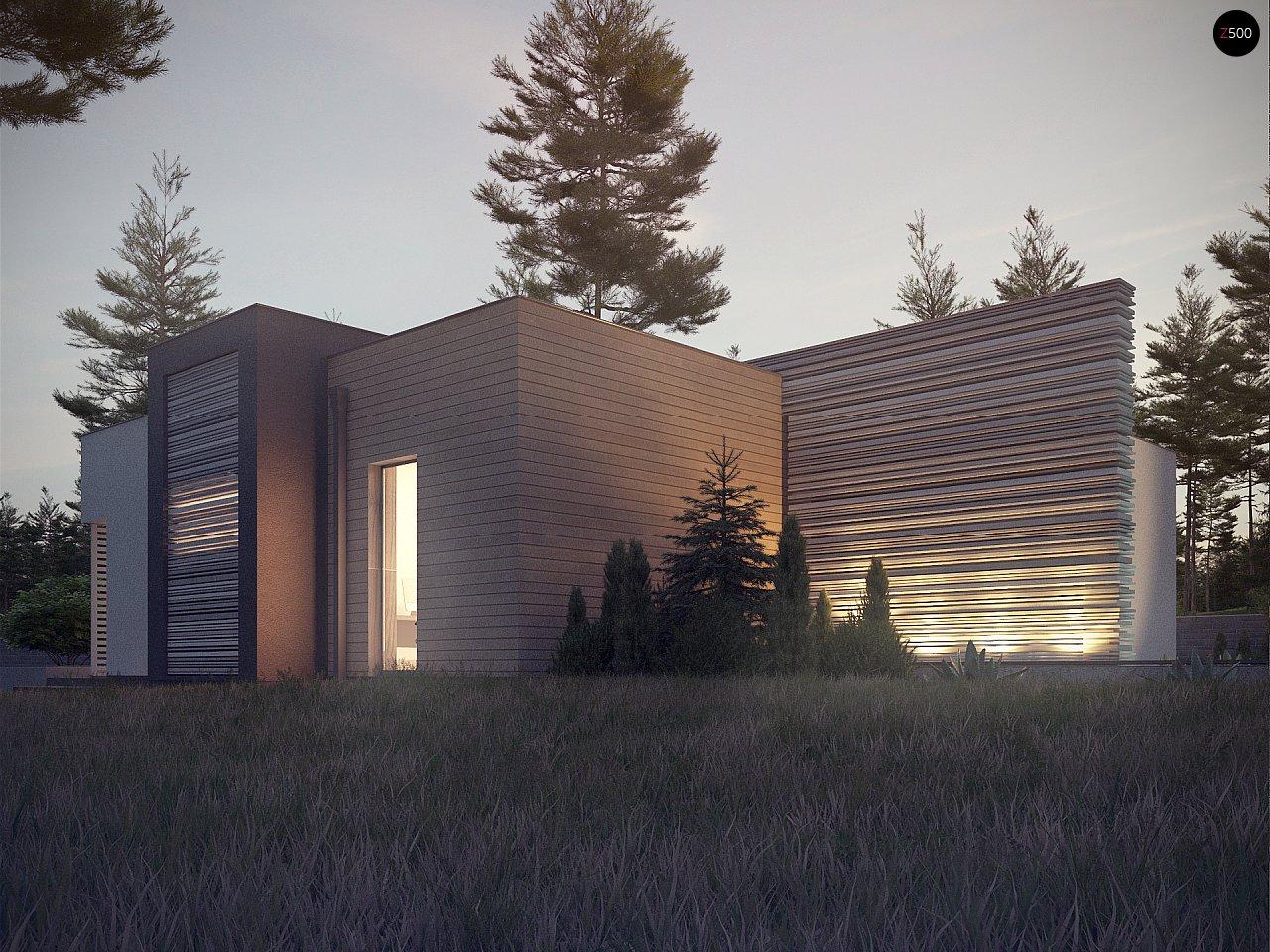 Одноэтажный дом в стиле хай-тек с плоской кровлей и большой площадью остекления. 18