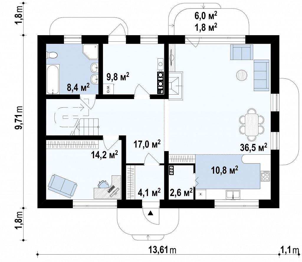 Энергоэффективный дом оригинального дизайна с просторной гостиной. план помещений 1