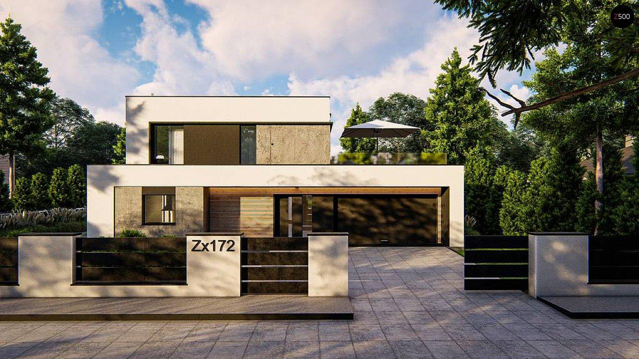 Cовременный двухэтажный дом с плоской крышей и гаражом на две машины. 1