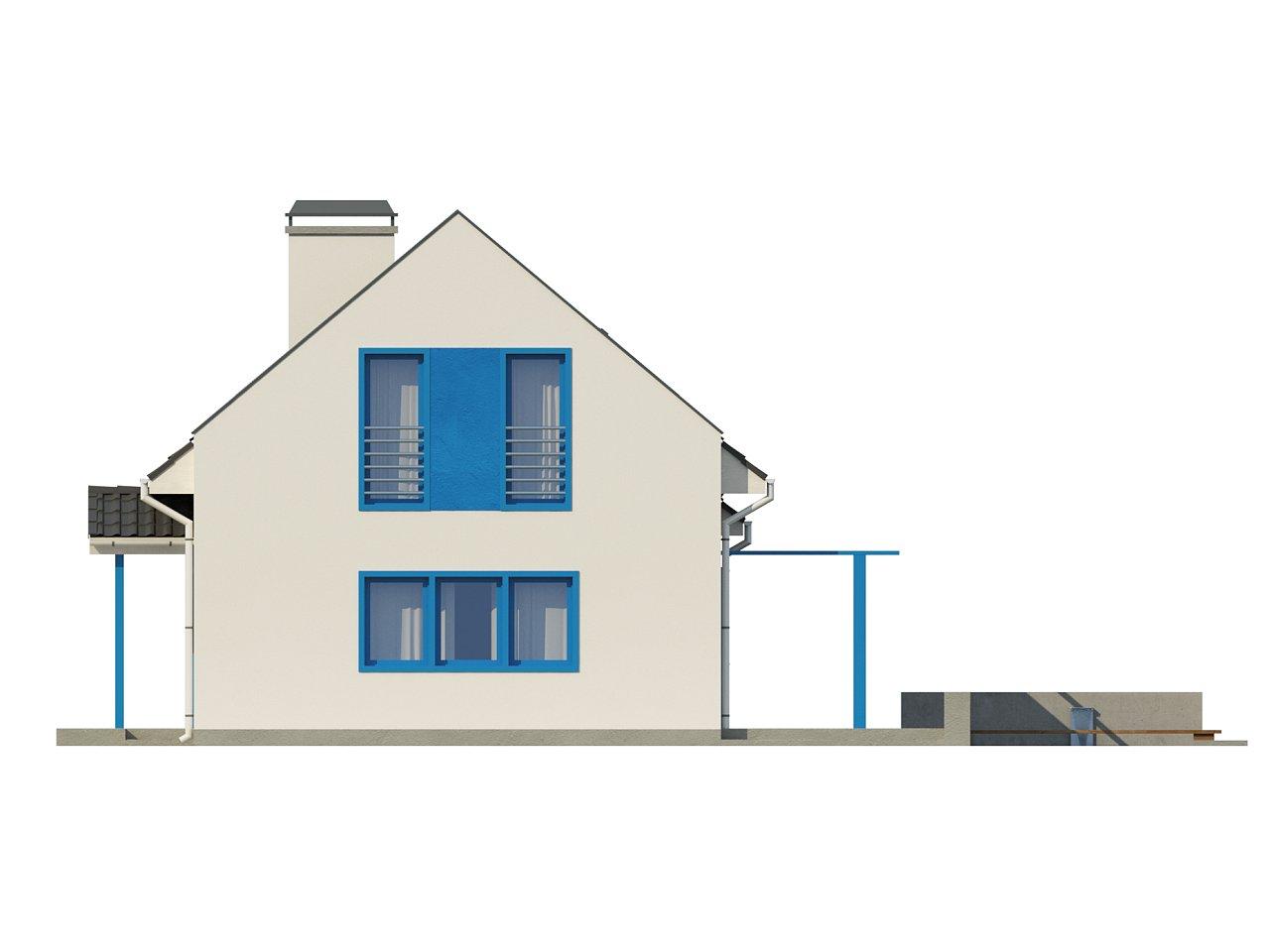 Компактный дом с гаражом для одной машины, с большими окнами в гостиной. 16