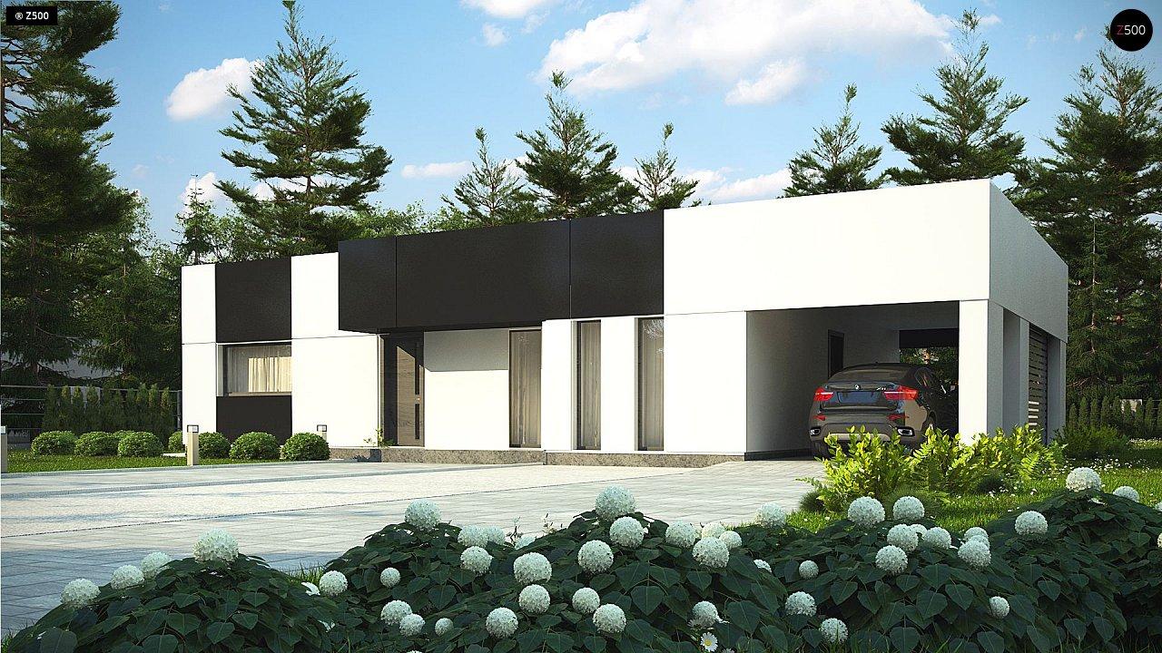 Проект современного одноэтажного дома с черно-белыми фасадами и открытым гаражом на 2 машины 4