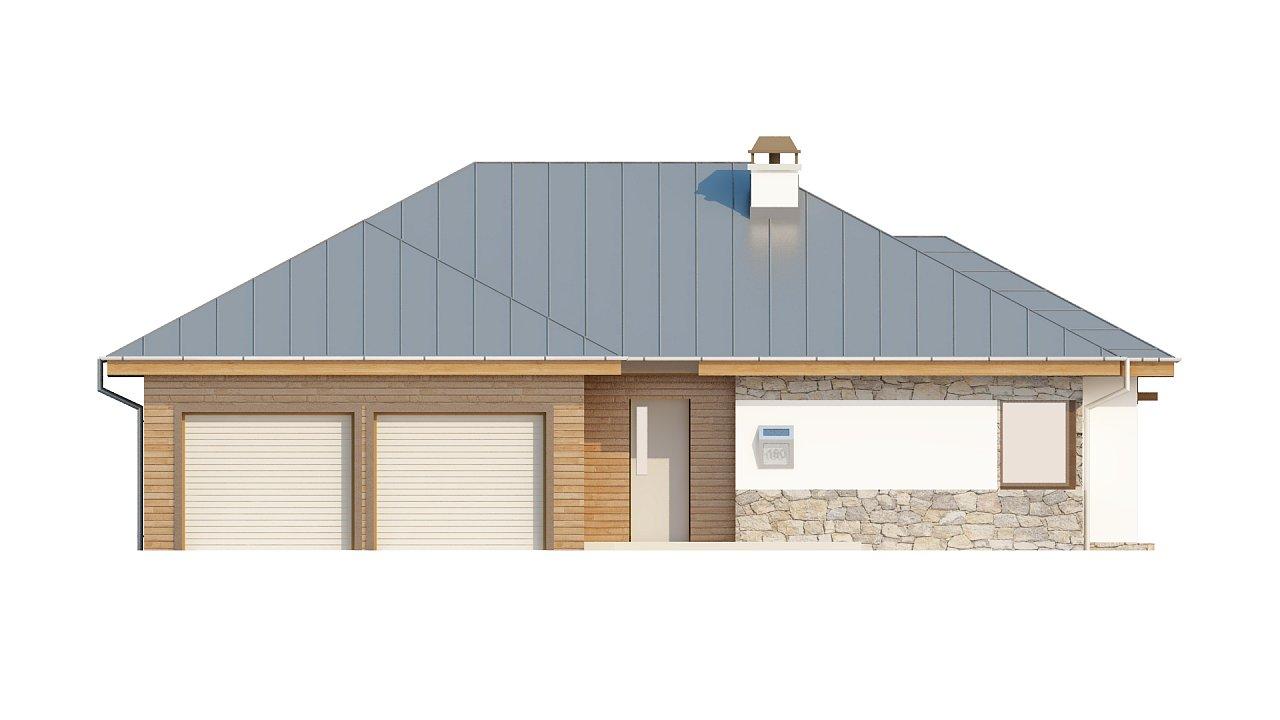 Стильный одноэтажный дом с гаражом для двух автомобилей. 3