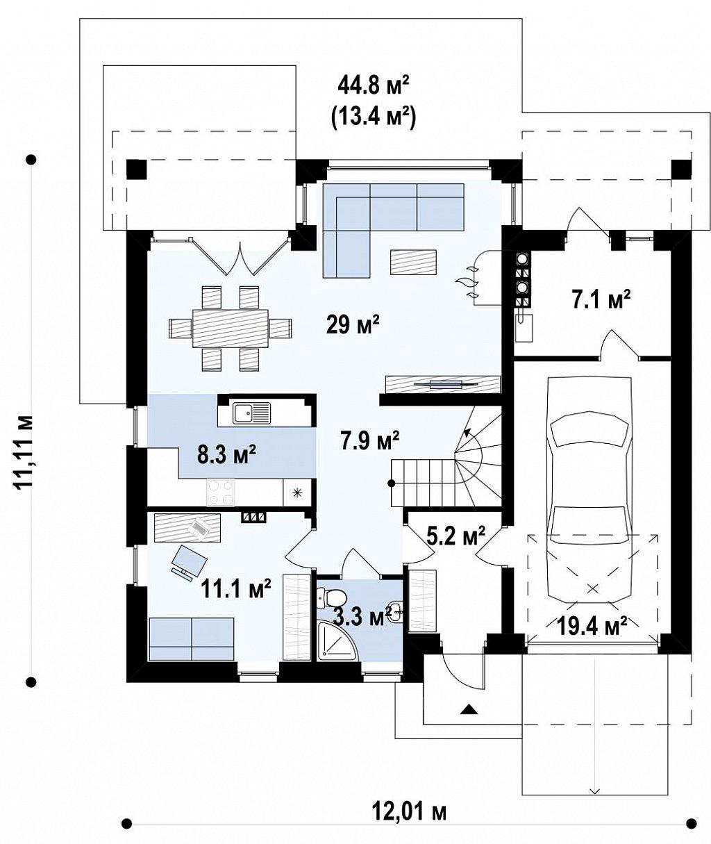 Практичный дом со встроенными гаражом, с большой площадью остекления в гостиной. план помещений 1