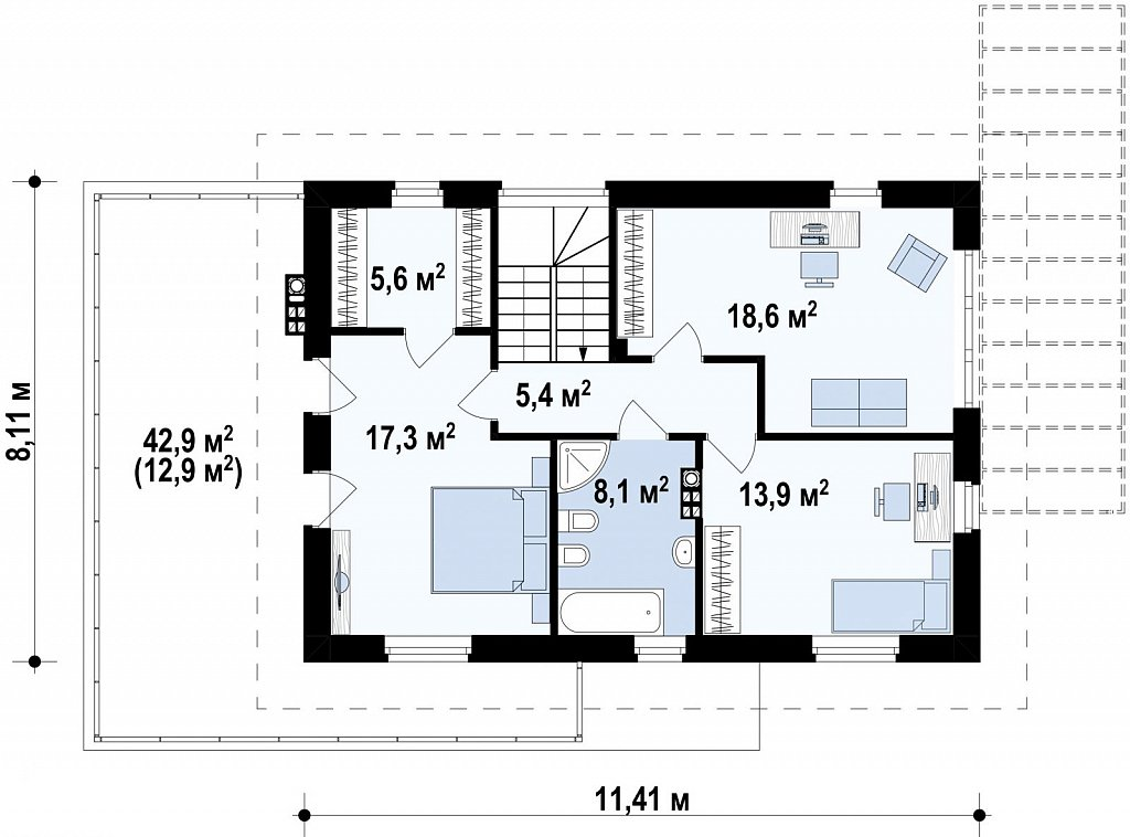 Современный двухэтажный дом простой формы с террасой на втором этаже. план помещений 2