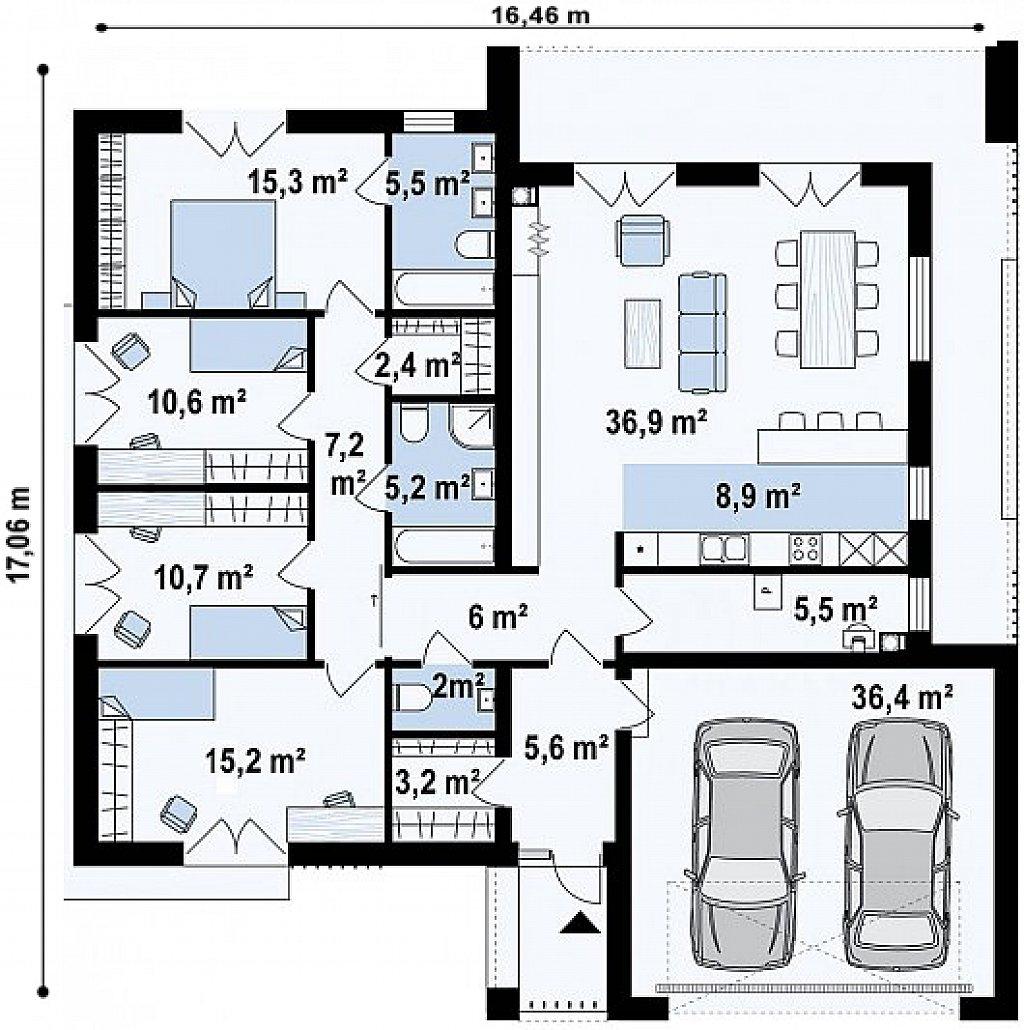Традиционный одноуровневый дом с функциональным расположением комнат и гаражом на 2 авто. план помещений 1