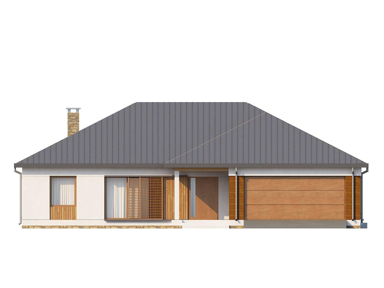 Проект практичного одноэтажного дома с фронтальным выступающим гаражом и крытой террасой. 3