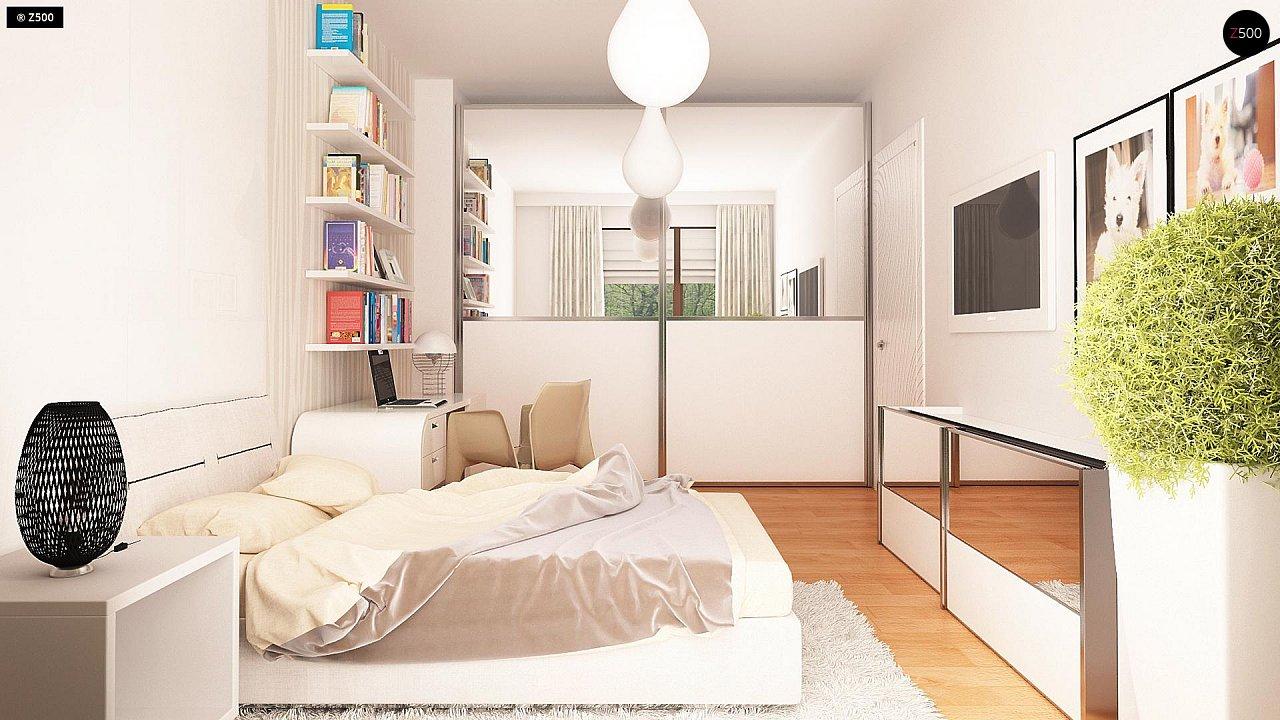 Одноэтажный просторный дом с эркером и крытой террасой. 13